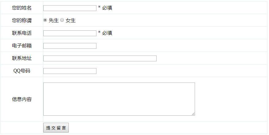 帝国CMS模板将信息反馈表的详细代码添加到内容页面